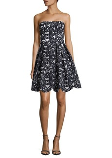 Maggy London Bonded Mesh Floral Fit & Flare Dress