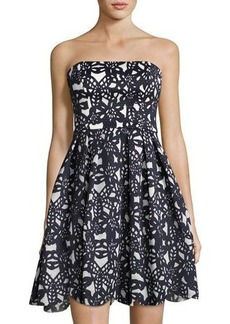 Maggy London Bonded Mesh Strapless Dress