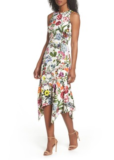 Maggy London Botanical Print Charmeuse Midi Dress (Regular & Petite)
