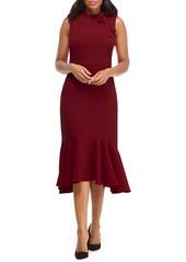 Maggy London Bow Detail Flounce Midi Dress
