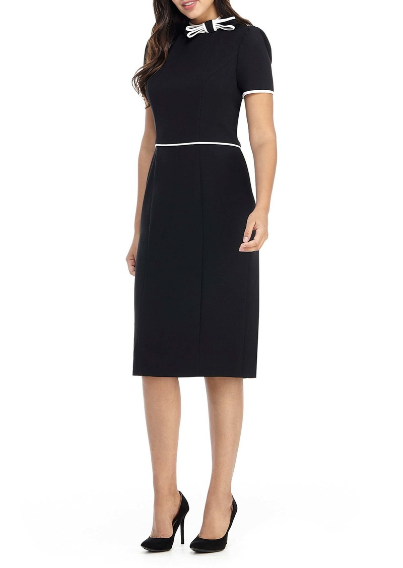 Maggy London Bow Neck Short Sleeve Sheath Dress