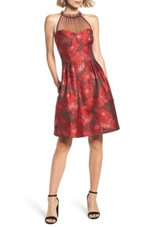 Maggy London Brocade Fit & Flare Dress