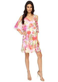 Maggy London Brushed Flower Chiffon w/ Cold Shoulder Dress