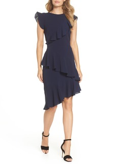 Maggy London Catalina Asymmetrical Ruffle Crepe Dress (Regular & Petite)