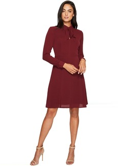 Maggy London Catalina Crepe Fit and Flare with Tie Neck