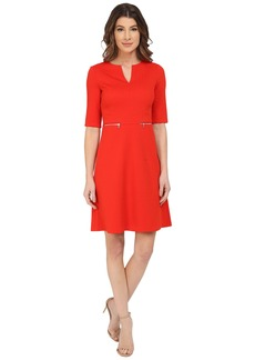 Maggy London Chainlink Jacquard Fit and Flare with Zippers Dress