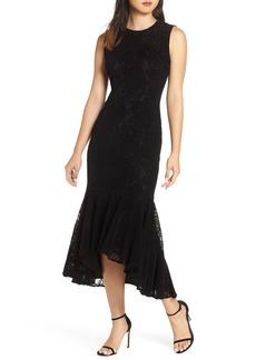 Maggy London Chantilly Velvet Lace Flounce Dress (Regular & Petite)
