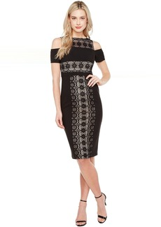 Maggy London Circle Flower Lace Cold Shoulder Dress