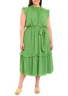 Maggy London Clip Dot Metallic Stripe Ruffle Midi Dress (Plus Size)