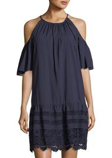 Maggy London Cold-Shoulder Crochet-Hem Cotton Shift Dress