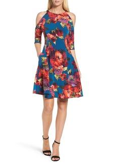 Maggy London Cold Shoulder Fit & Flare Dress (Regular & Petite)