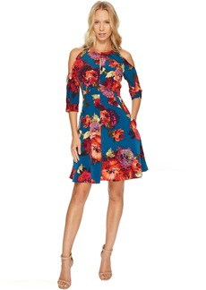 Maggy London Cold Shoulder Fit and Flare Dress