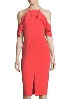 Maggy London Cold-Shoulder Halter Ruffled Midi Dress
