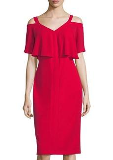 Maggy London Cold-Shoulder Midi Sheath Dress w/ Flutter Sleeves