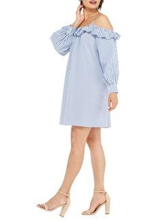 Maggy London Cold-Shoulder Ruffle Shift Dress
