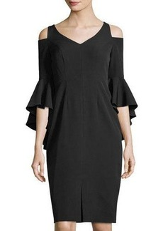 Maggy London Cold-Shoulder Ruffle-Sleeve Sheath Dress