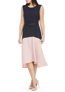 Maggy London Colorblock Belted Midi Dress