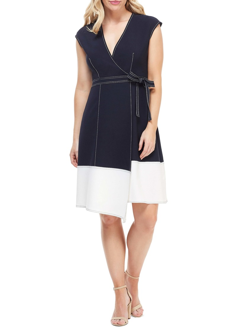 Maggy London Colorblock Faux Wrap Dress (Regular & Petite)