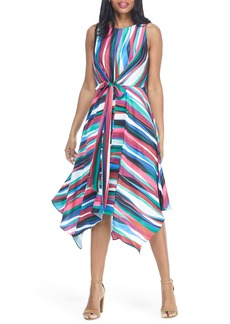 Maggy London Colorful Stripe Handkerchief Hem Sleeveless Dress