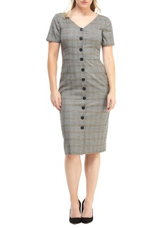 Maggy London Confetti Plaid Button Front Dress