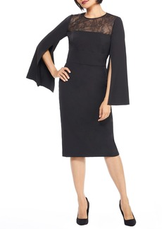 Maggy London Crepe & Lace Sheath Dress