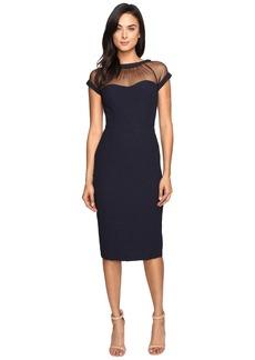 Maggy London Crepe Jacquard Illusion Top Crepe Dress
