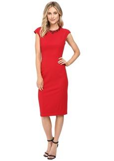 Maggy London Crepe Scuba Sheath Dress with Embellished Neck