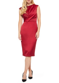 Maggy London Crossover Bodice Satin Midi Dress (Regular & Petite)