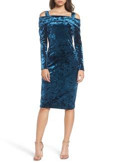 Maggy London Crushed Velvet Off the Shoulder Dress