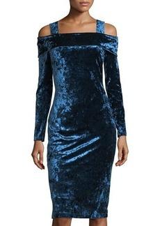 Maggy London Crushed Velvet Off-The-Shoulder Dress