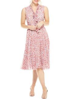 Maggy London Delinda Print Tie Neck Pleated Chiffon Dress
