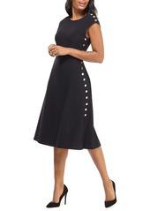 Maggy London Desk to Dinner Button Trim A-Line Dress