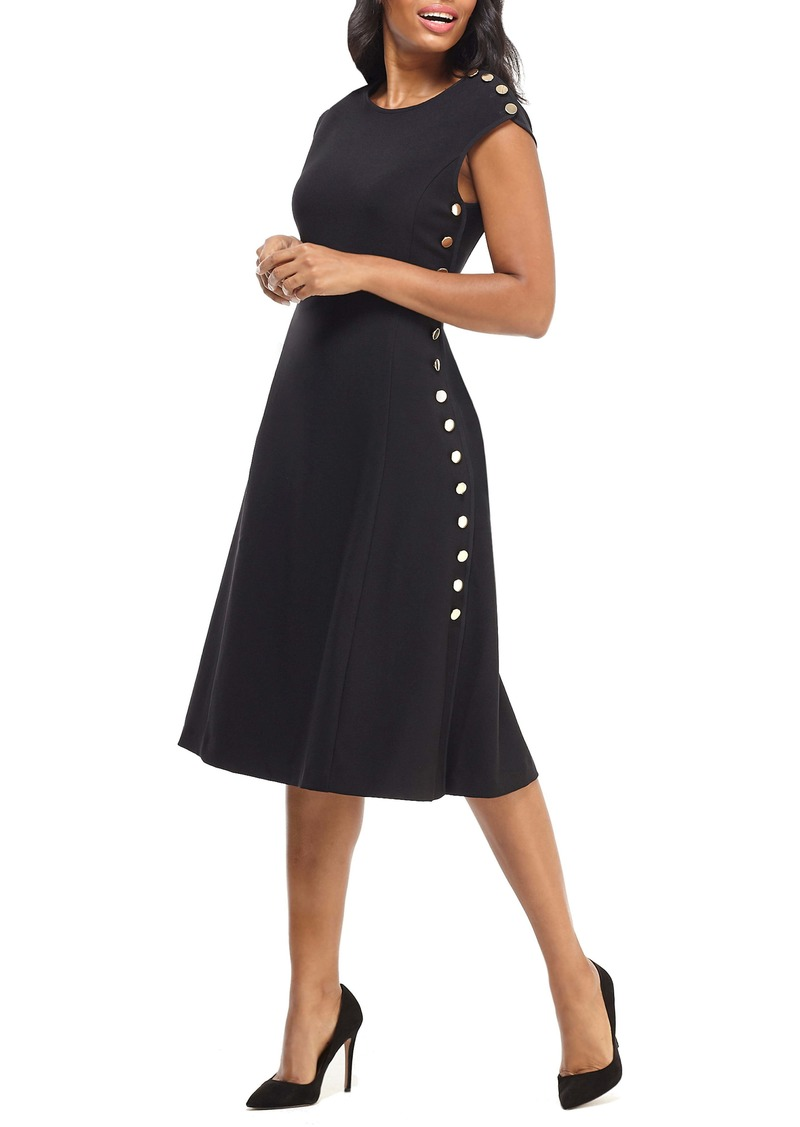 Maggy London Desk to Dinner Button Trim A-Line Dress