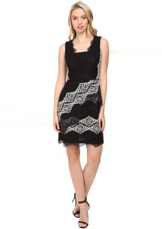 Maggy London Diamond Stripe Lace Fit and Flare Dress