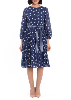 Maggy London Dot Print Long Sleeve Pleated Midi Dress