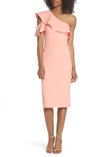 Maggy London Dream One-Shoulder Crepe Ruffle Dress