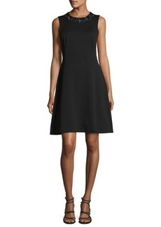 Maggy London Embellished Fit & Flare Scuba Dress