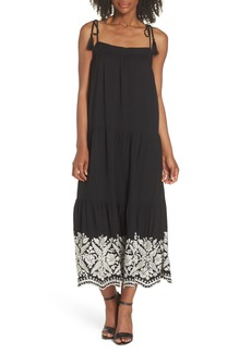 Maggy London Embroidered Hem Maxi Dress