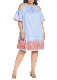 Maggy London Embroidered Stripe Cold Shoulder Shift Dress (Plus Size)