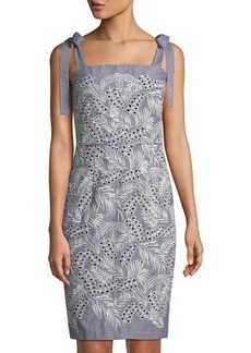 Maggy London Embroidered Tie-Shoulder Sheath Dress