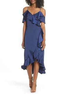 Maggy London Faux Wrap Satin Ruffle Dress