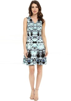 Maggy London Feathered Floral Scuba Fit and Flare