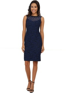 Maggy London Fern Scroll Lace Sheath with Embellished Neck