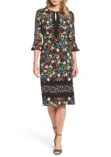 Maggy London Flare Sleeve Sheath Dress