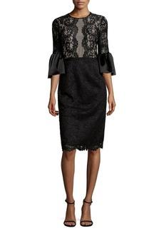 Maggy London Flared-Sleeve Lacework Sheath Dress