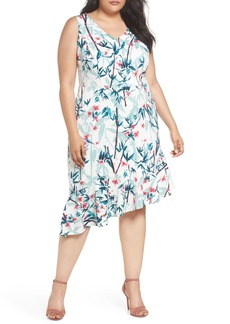 Maggy London Floral Asymmetrical Scuba Sheath Dress (Plus Size)