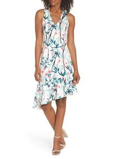 Maggy London Floral Asymmetrical Scuba Sheath Dress (Regular & Petite)