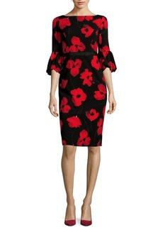 Maggy London Floral Bell-Sleeve Sheath Dress