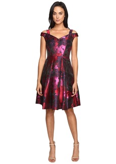 Maggy London Floral Brocade Fit and Flare Dress
