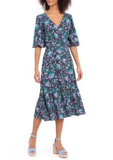 Maggy London Floral Bubble Crepe Midi Dress